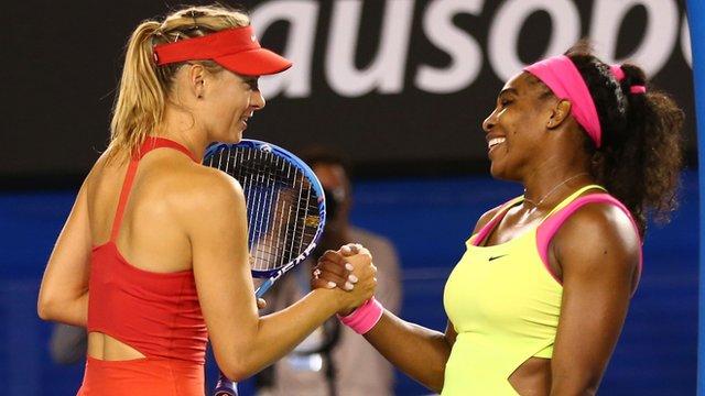 Maria Sharapova congratulates Serena Williams