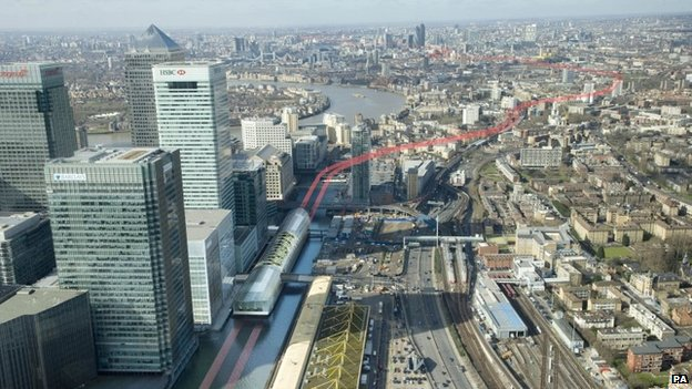 Artist's impression of Crossrail route