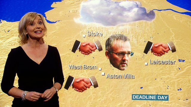 BBC Weather presenter Carol Kirkwood gives a forecast on the comings and goings at Premier League clubs on transfer deadline day