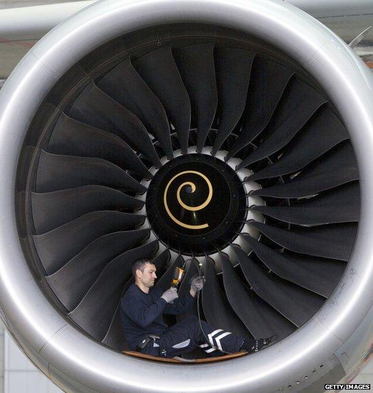 Man working on jet engine