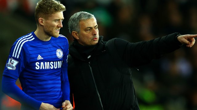 New Wolfsburg signing Andre Schurrle and Chelsea manager Jose Mourinho