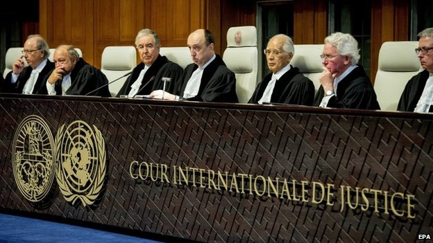 President of the Court, Judge Peter Tomka (centre) during the verdict on genocide claims brought up by Croatia against Serbia, at the UN International Court of Justice (ICJ) in The Hague, The Netherlands, 3 February 2015