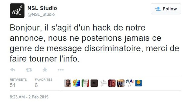 NSL Studio tweet