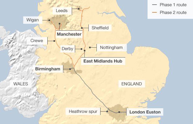 Map showing the route of HS2 phases 1 and 2