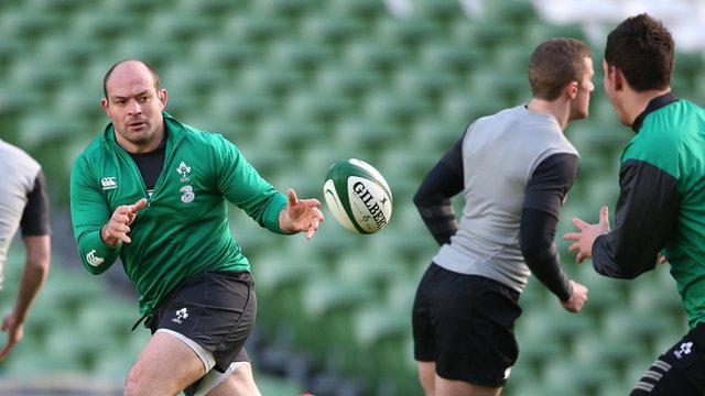 Rory Best receives a pass during Ireland training in Dublin