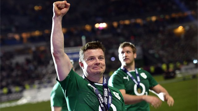 Ireland's Brian O'Driscoll celebrates in Paris