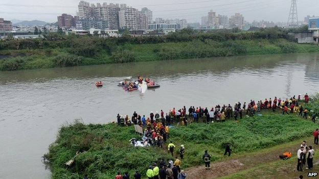 """Rescue personnel work to free passengers from a TransAsia ATR 72-600 turboprop plane (C-in water) that crash-landed into a river outside Taiwan""""s capital Taipei in New Taipei City on February 4, 2015."""