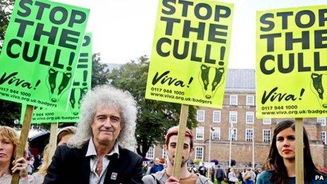 Brian May at badger cull protest
