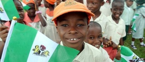 Nigerian children attend independence day celebrations in Lagos ion 1 October 2013