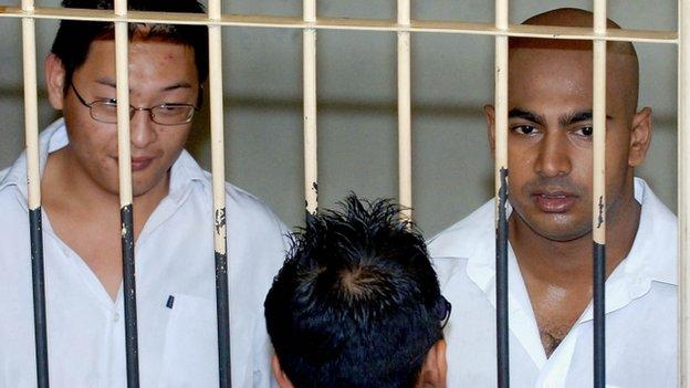 Andrew Chan and Myuran Sukumaran in court in 2006