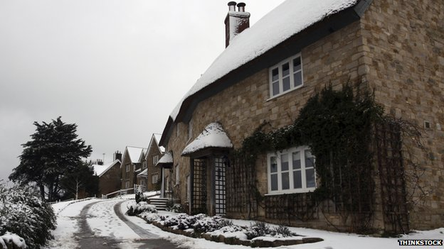 cottages with snow