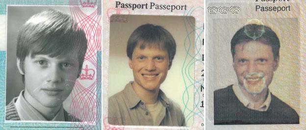 Montage of Michael Pritchard's passport photos