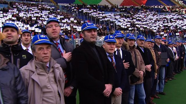 Former Italian rugby players sing the national anthem at the 2013 Six Nations