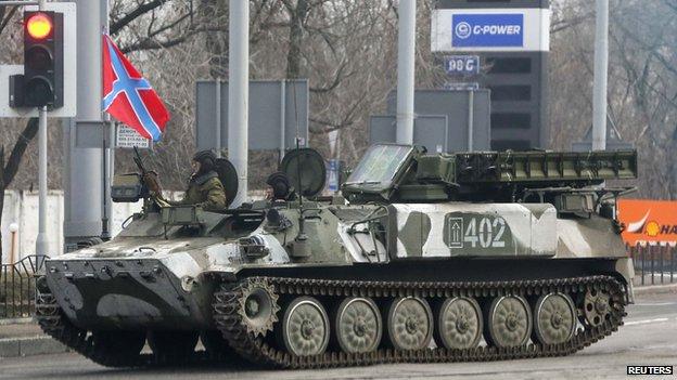 Pro-Russian rebel Strela-10 air defence system, Donetsk, 3 Feb 15
