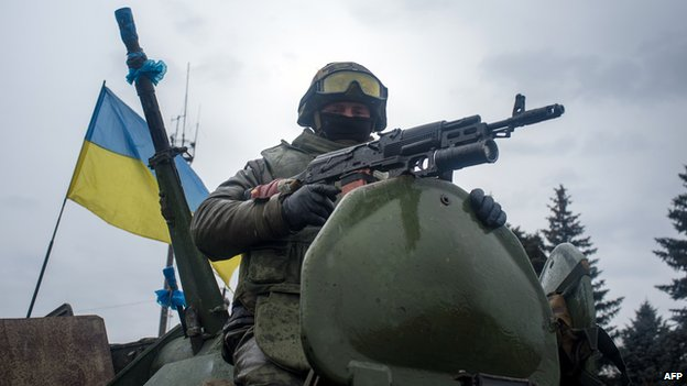 Ukrainian soldier on tank, 1 Feb 15