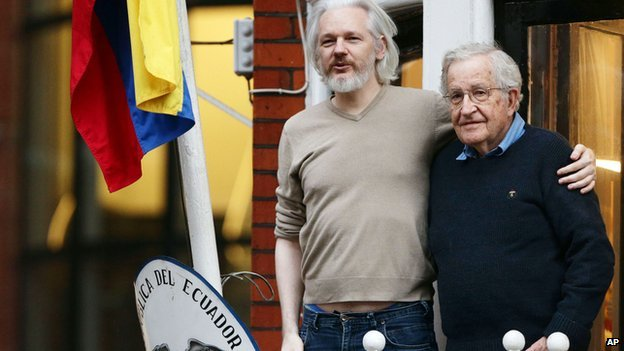 Julian Assange with philosopher and writer Noam Chomsky