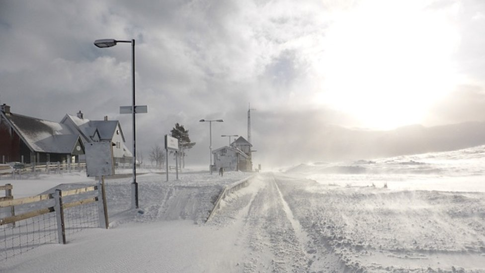Courrour station in snow