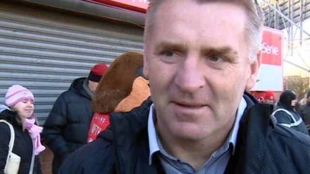 Walsall boss Dean Smith meets the Wembley-bound fans buying tickets at Bescot