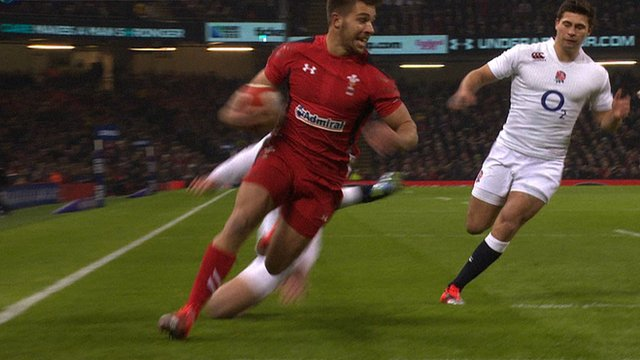 Wales' Rhys Webb scores first try