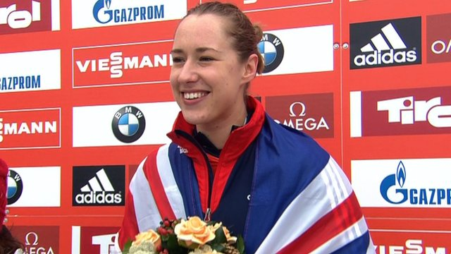 Lizzie Yarnold on the podium
