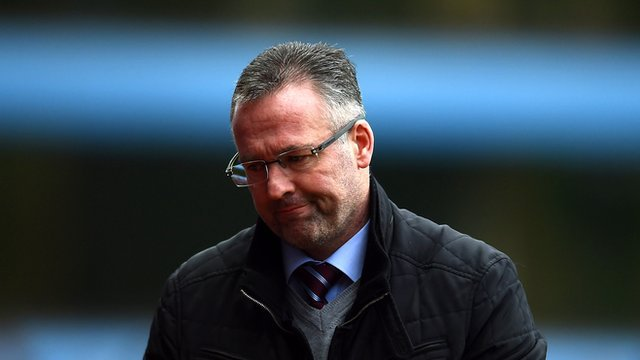 Aston Villa manager Paul Lambert at Villa Park