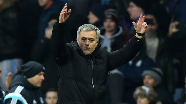 Chelsea manager Jose Mourinho celebrating with his fans at Villa Park