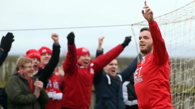 Darren Murray celebrates scoring against Portstewart in the Irish Cup