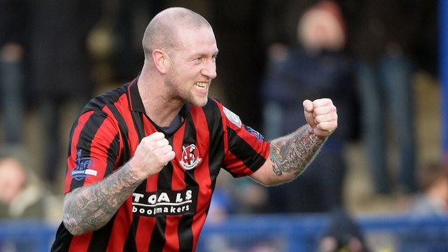 Crusaders Stephen O'Flynn celebrates his goal against Bangor