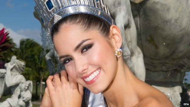 A handout picture made available by the Miss Universe Organization shows Paulina Vega, Miss Universe 2014
