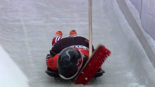 Jane Channell collides with a brush during her first heat.