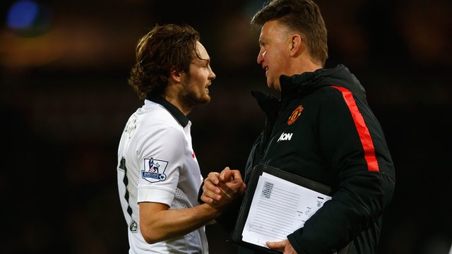 Val Gaal with goal scorer Daley Blind.