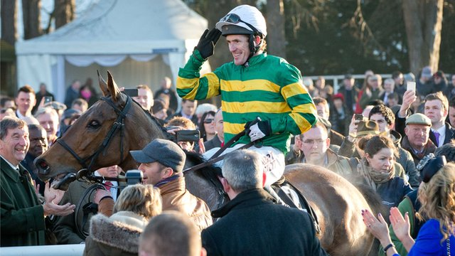 McCoy celebrates winning the Irish Hennessy Gold Cup on Sunday