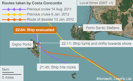 Map showing sinking of Costa Concordia