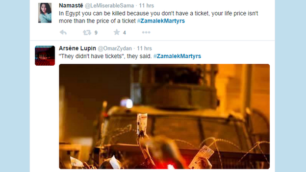 Twitter users express their anger at the police justification that the fans tried to enter without tickets 8 February 2015