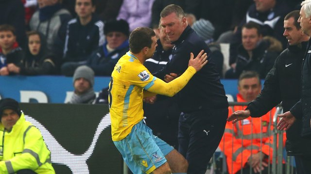 Nigel Pearson's touchline clash with Crystal Palace's James McArthur