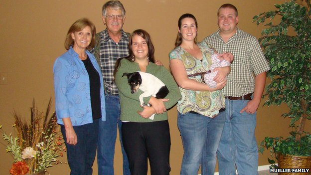 The Mueller family, with Kayla at the centre