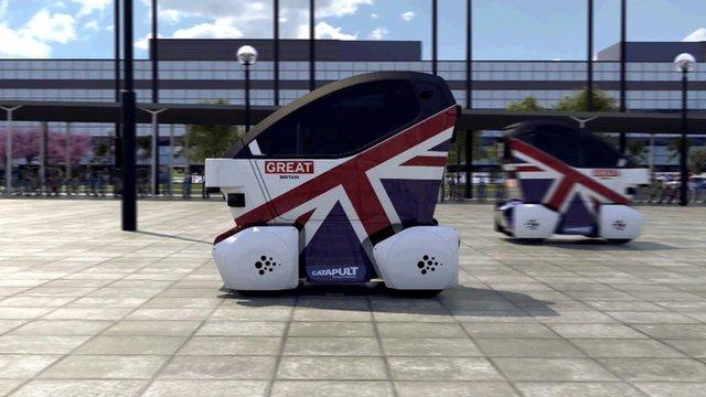 A computer simulation of a driverless car