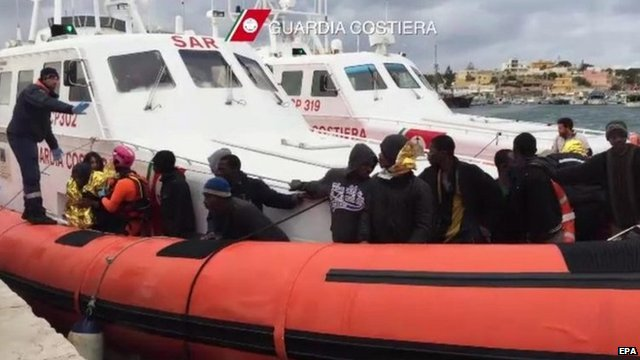 Migrants arrive in Lampedusa on 09 February 2015 after being rescued by Italian Coastguard from the Mediterranean Sea between Libya and Italy
