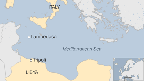 Map of the Mediterranean Sea, showing Italy and the island of Lampedusa as well as Libya