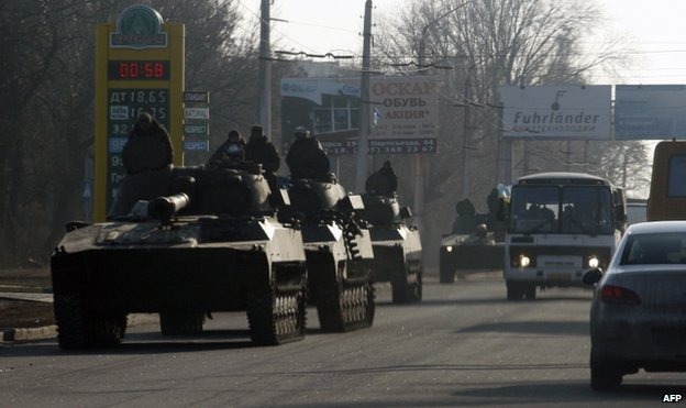Ukrainian armoured vehicles on the move from Artemivsk to Debaltseve, 11 February