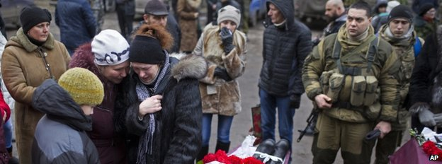 The funeral of a rebel fighter in Vuhlehirsk, Donetsk, 5 February