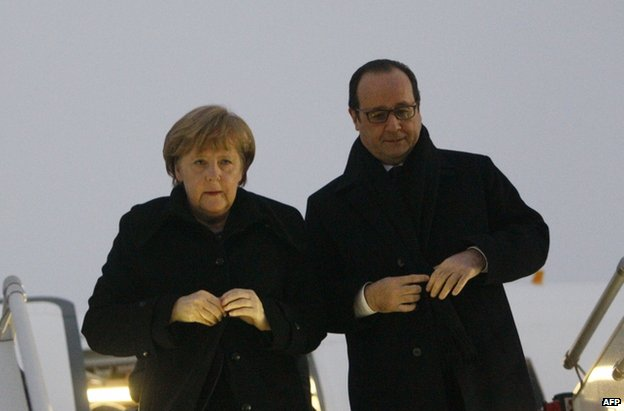German Chancellor Angela Merkel and French President Francois Hollande land in Minsk, 11 February
