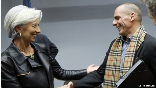 IMF's Christine Lagarde and Greek Finance Minister Yanis Varoufakis