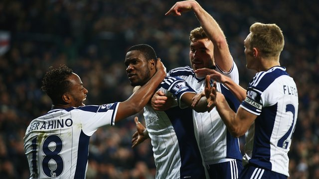 West Bromwich Albion players celebrate Brown Ideye's goal against Swansea City