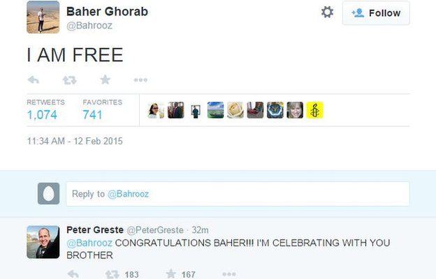"Tweet from Baher Mohamed, declaring: ""I AM FREE"" (12 February 2015)"