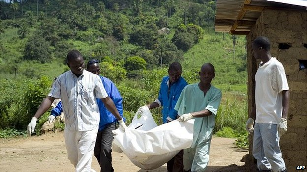 Guinean Red Cross workers carry the corpse of an Ebola victim in Patrice near Macenta on November 21, 2014