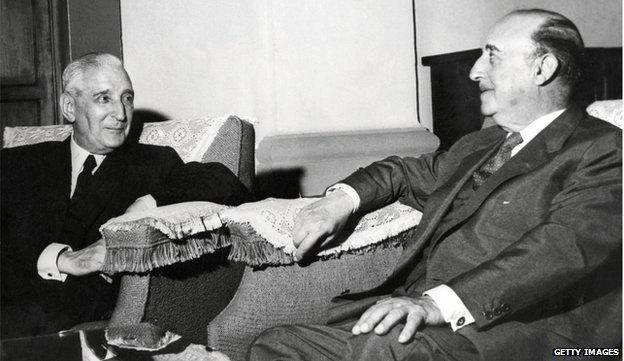 General Francisco Franco (R) with Portuguese President and dictator Antonio de Oliveira Salazar in 1960