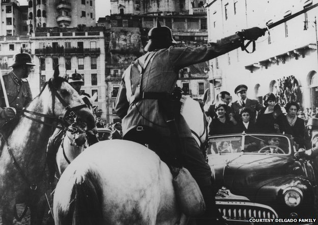 Lisbon, 16th May 1958. General Delgado, his wife and daughters are forbidden by the police to join the crowds who awaited him in the city centre
