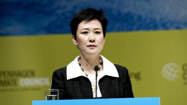Li Xiaolin, Chairwoman and Chief Executive Officer of China Power International Development addresses the assembly at the World Business Summit on Climate Change in Copenhagen on May 26, 2009.