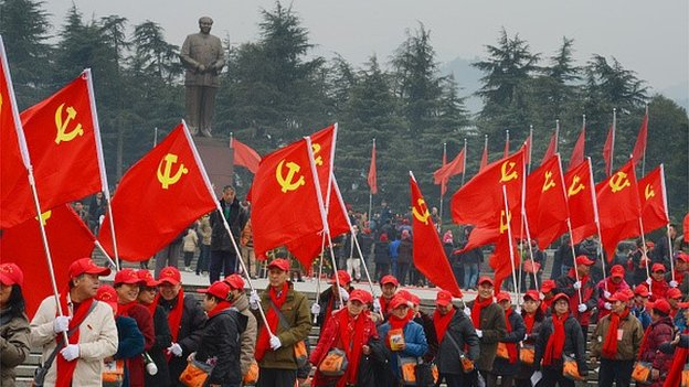 Seventy elder party members from Bejing arrive to commemorate the 121st Anniversary Of Chairman Mao's Birthday on December 25, 2014 in Shaoshan, Hunan province of China